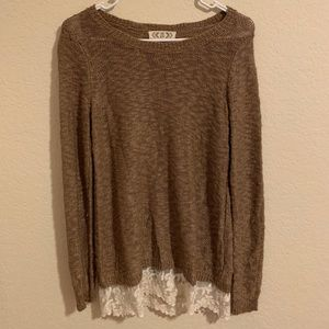 Tan sweater with lace trim
